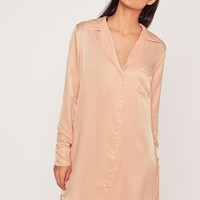 Missguided - Silky Shirt Dress Nude