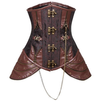 Medieval Steampunk Leather hip panel Underbust Coffee Corset