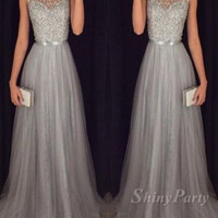 A Line Round Neck Sleeveless Grey Prom Dresses With Sweep Train, Grey Formal Dresses