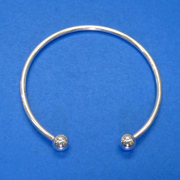 Cuff Bangle Bracelet for Metal Beads 9 gauge, Ball end screws off, Silver Plated over Brass / 3 mm