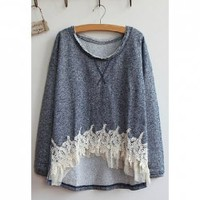 Long Sleeves Scoop Neck Lace Stitching Asymmetrical Hem Casual Women's T-Shirt