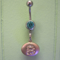 "Belly Button Ring - Body Jewelry - Gold Initial ""B"" Charm with Lt Blue Gem Stone Belly Button Ring"