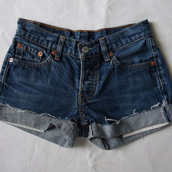 Low mid rise denim shorts vintage Levis 501 blue jean shorts cut off cuffed frayed button fly denim hotpants X Small Waist 25