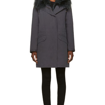 Army By Yves Salomon Slate Fox Fur Layered Coat