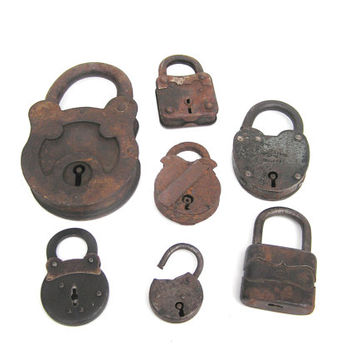Soviet padlock set collectibles rustic rusty farmhouse decor lock no keys