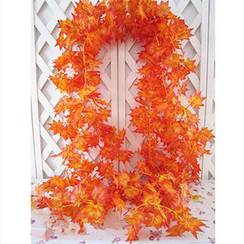 Discount 10x Artificial Fall Maple Leaf Decorative Flowers Garland Silk Vine Wedding Garden Decor Decoration for you