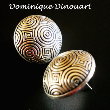 Sterling Earrings Dominique Dinouart Vintage Round Engraved Mexico 14.6 grams