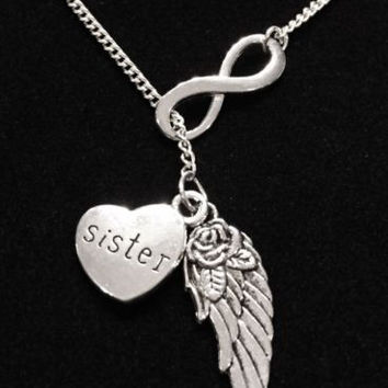 Guardian Angel Wing Sister Infinity In Memory Heaven Y Lariat Necklace