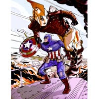 "Captain America and Rocketeer Inspired Illustration 11 x 14"" Art-Print"