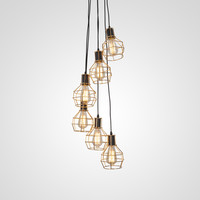 UNITARY BRAND Vintage Barn Metal Chandelier Max 360W With 6 Lights Gold Finish
