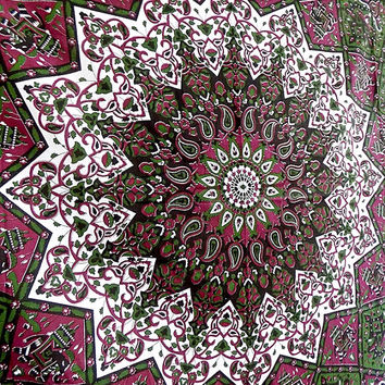 PSYCHEDELIC mandala tapestry wall hanging hippie bohemian boho bedding throw indian bedspread ethnic elephant home decor