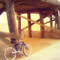 """Pier Photography-Calming-California-Beach Photography-Bicycle Photography-Whimsical-Vintage Style-8x10 Luster Photograph-""""Beach Rider"""""""