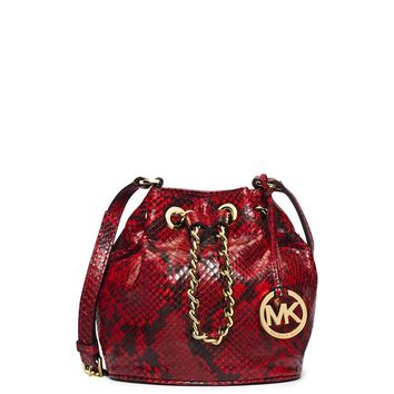 MICHAEL Michael Kors Leather Drawstring Bucket Crossbody Shoulder Bag (Small)