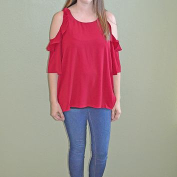 In the Game Red Ruffle Top