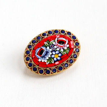 Vintage Red Micro Mosaic Flower Pin - Italy Gold Tone Colorful Blue, Pink Floral Glass Tesserae Tiles Oval Italian Jewelry Brooch