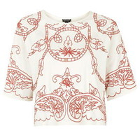 Cut-Work Festival Top - Red