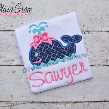 Girls Whale Shirt, girls summer shirt, Beach Themed Embroidered Applique Bodysuit or Shirt