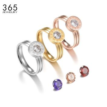 2017 New Arrival Charm Stainless Steel Interchangeable Ring 4 Color CZ Stone Roman Numerals Small Ring For Women