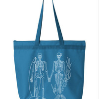 Summer SKELETON Surfer Mermaid Beach Tote Bag Canvas Screen print  20 More Colors
