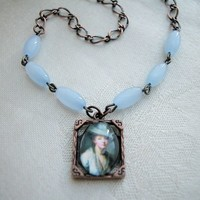 Antique Copper Glass Photo Frame Pendant Necklace Violet Cats Eye Bead