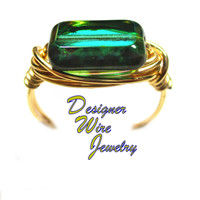 DWJ0555 Lovely Emerald Picasso Czech Art Glass Gold Wire Wrapped Ring All Sizes