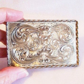 Sterling Silver Belt Buckle: Engraved Flowers and Swirls, Vintage High Patina - P0008