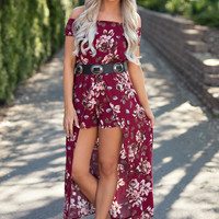 Lets Brunch Off the Shoulder Floral Print Raxi (Burgundy)