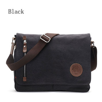 Men's Black Vintage Messenger Bags Canvas Satchel School Military Shoulder Bag Boy's Travel Handbag Business Crossbody Bag