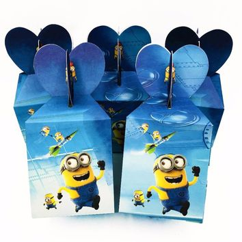 6pcs/set Minions candy boxs theme Cartoon paper bags birthday baby shower gift event infantiles decoracion party supplies