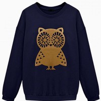 Navy Owl Print Oversized Sweater