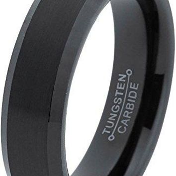 6mm Tungsten Wedding Band Ring for Men Women Comfort Fit Black Beveled Edge Brushed