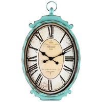 Large Antique Turquoise Metal Oval Wall Clock | Hobby Lobby | 321729