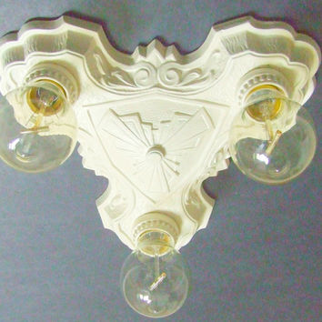 LaSalle Art Deco Cast Iron Flush Mount Cream Colored 3 Bulb Ceiling Light fixture c1920, Rewired Perfect for Home Restoration Project
