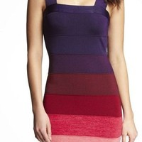 Ombre Stripe Kint Bandage Dress at Express