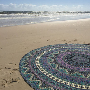 Indian Roundie Mandala Tapestry Beach Towel Throw Yoga Mat cover Large Round Tapestry yoga mat beach throw