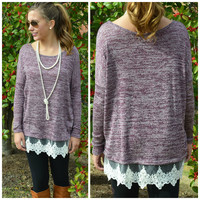 Winterlily Lace Trim Purple Tunic