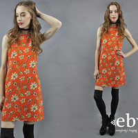 90s Mini Dress 90s Floral Dress Orange Dress Summer Dress 1990s Dress 90s Dress Orange Floral Dress 90s Clothing 90s Party Dress S
