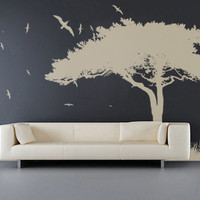 Large Tree Grass and Flying Birds Bohemian Nature Decal for Home, Dorm, Office, Living Room or Bedroom