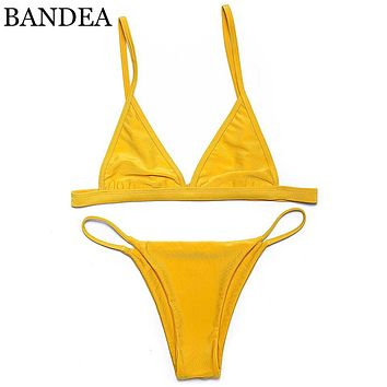 Sexy Spandex Polyester Women Bikini Swimwear Solid yellow Swimsuit Bikini Swim Suit Summer