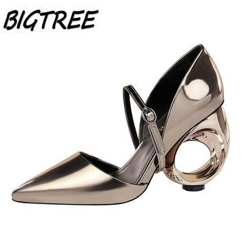 BIGTREE Summer Women Pointed Toe High heels Shoes Woman Pumps Ladies Fashion metal Hollow out Strange Style Party Wedding Shoes