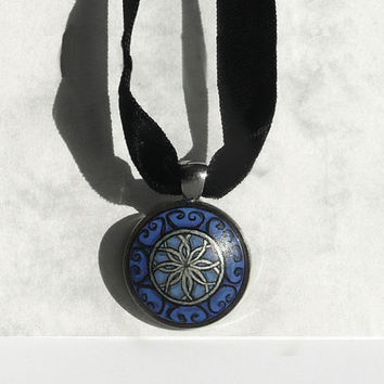Unique Necklace, Black Velvet Choker, 13 inches, Cobalt Blue Pendant, 1 inch, Hand Painted Pendant, Modern Design Bezel Necklace by Artdora