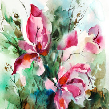 Ituitive Abstract Flowers Art Print of Original Watercolor Painting 12x18'', Abstract Nature Pink Green Floral Wall Art