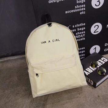 I AM A GIRL Large Canvas College School Bag Backpack