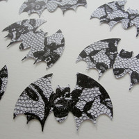 Halloween Paper Bats, Black and White Bat Halloween Cut Outs, Lace Design Bats, Halloween Decoration Tag Embellishment, Set of 16