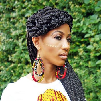 African Cloth Fabric Earrings Handmade Earrings with Tassels for Women