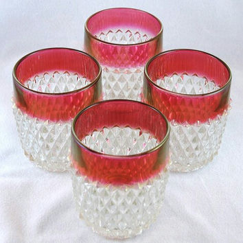 A Set of Four Indiana Glass Ruby Red Band Diamond Point Tumbler / Old Fashioned Glass /  Indiana Glass Ruby Red Band Rocks