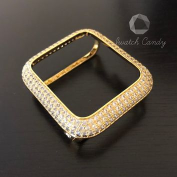 Series 4 Apple Watch Case Cover Bezel 40mm 44mm Womens Mens Gold Lab Diamond Case Cover Iced Out Iwatch Bling Smart Watch