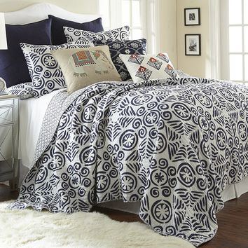 Constantinople Reversible Quilt Set (Blue)