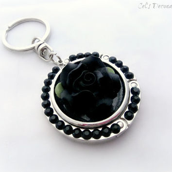 Black rose rhinestone keychain, folding purse hook, gothic princess bag charm, gift for her