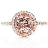 18K Morganite Engagement Ring Round Diamond Halo Morganite Ring White Yellow or Rose Gold Custom Engagement Ring